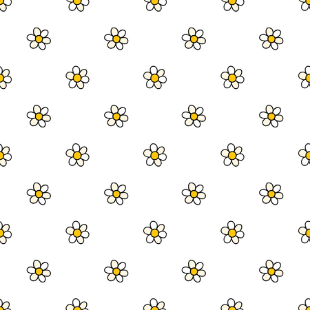Chamomile flowers hand drawn vector seamless pattern. Nature daisies background in modern style. Floral cartoon texture for surface design, textile, wrapping paper, wallpaper, phone case print, fabric.