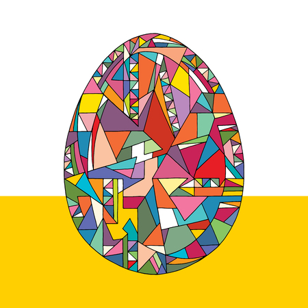 Easter egg vector illustration. Hand drawn abstract holidays object in cartoon modern style.