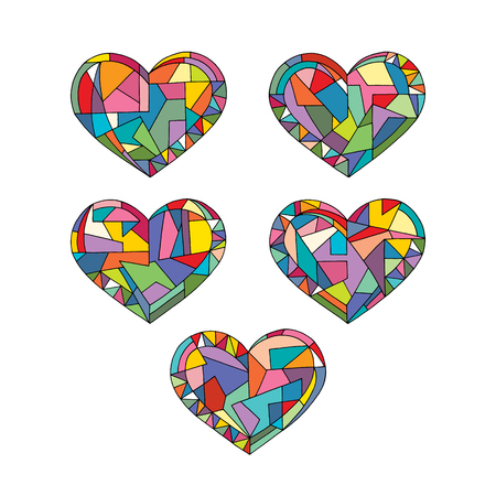 Hearts hand drawn abstract vector illustrations. Love geometrical mosaic cartoon collection in modern style.