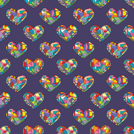 Hearts hand drawn vector seamless pattern. Valentines day holidays background in modern style. Love geometric texture for surface design, textile, wrapping paper, wallpaper, phone case print, fabric. Ilustrace