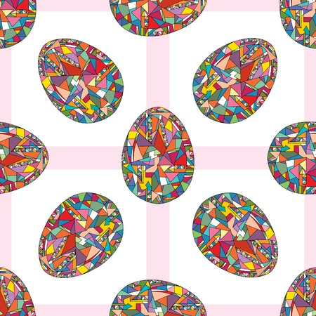 Easter eggs vector seamless pattern. Hand drawn abstract spring holidays texture in modern style for surface design, textile, wrapping paper, wallpaper, phone case print, fabric.