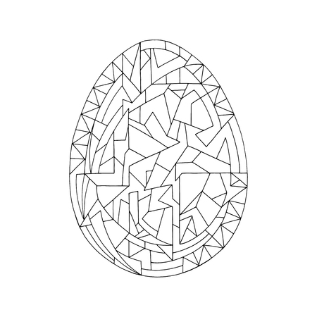 Easter egg coloring book vector illustration. Hand drawn abstract holidays object in contemporary style.