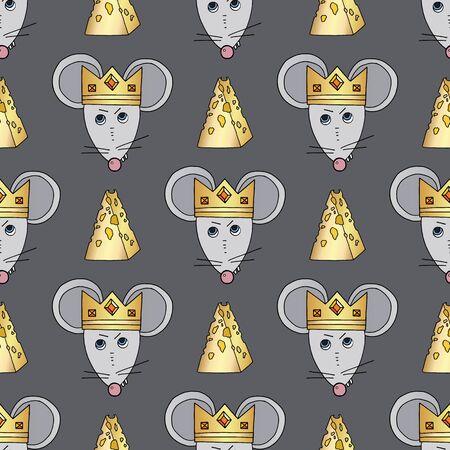Nahtloses Muster des Rattencharaktervektors. Mäusetier mit Käse und Krone. Handgezeichnete Cartoon niedliche Haustiere Hintergrund.