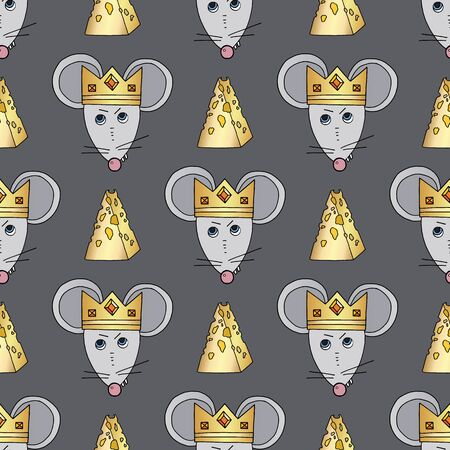 Rat character vector seamless pattern. Mouse animal with cheese and crown. Hand drawn cartoon cute pets background.