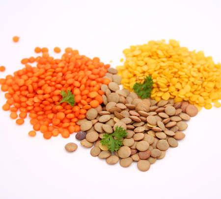 lentils: Lentejas de colores Foto de archivo