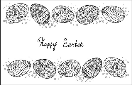 Easter egg icons collection in doodle style. Hand drawn illustration. Banner background.greeting card,page for coloring book.