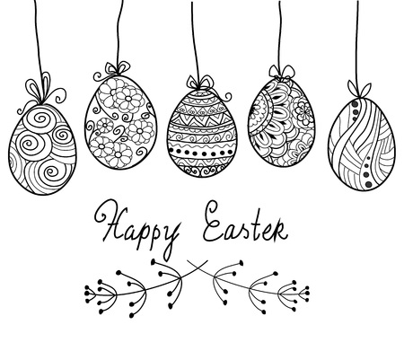 Vector greeting card or invitation design with cute hand drawn illustrations for easter design. Happy Easter Day coloring page.Hand drawn lettering 向量圖像