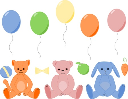 Teddy birthday friends Vector