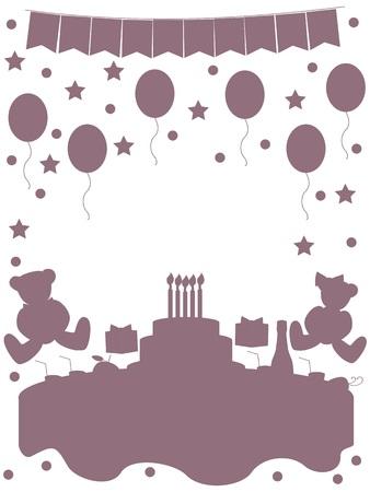 no edges: Birthday monochrome no edges Illustration
