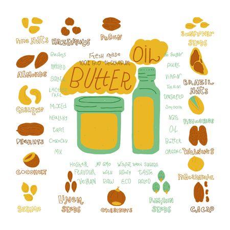 Mantequilla y aceite orgánicos crudos vegetarianos dibujados a mano diseño vectorial. Ilustración realizada en estilo doodle. Conjunto de objetos de comida para paquete, merchandising y otro diseño.