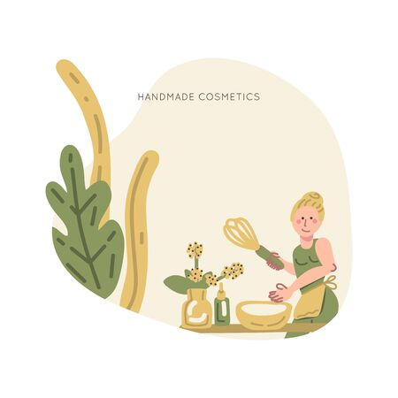 Young woman  producing natural homemade cosmetics. Vector premade scene.