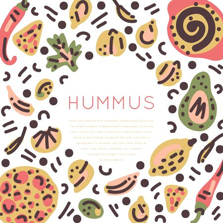 Vegetarian raw organic Hummus hand drawn round frame. Vector handdrawn isolated circle concept. Illustration made in doodle style. Set of food objects for package, merch and other design.
