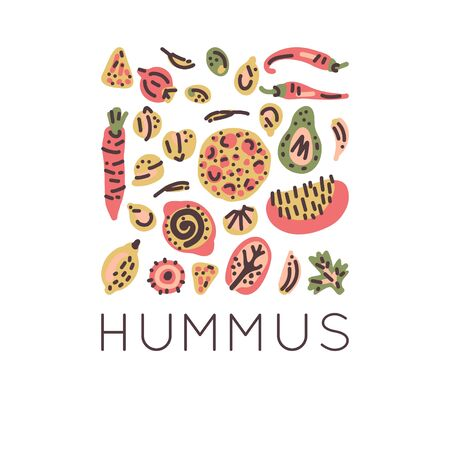 Vegetarian raw organic Hummus hand drawn vector design. Illustration made in doodle style. Set of food objects for package, merch and other design.