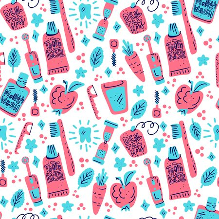 Kids oral care vector set. Dental hygiene for child - icons. Seamless pattern in doodle style, colourful background.