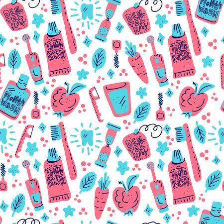 Kinder Mundpflege Vektor-Set. Zahnhygiene für Kinder - Symbole. Nahtloses Muster im Doodle-Stil, bunter Hintergrund.