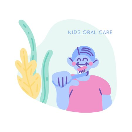 Boy smiling and brushing teeth scene.