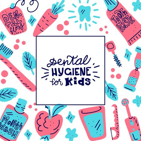 Kids oral care lettering quote that says - Dental hygiene for kids. Dental hygiene for child bckground. Illustration with motivational funny saying, colourful background.