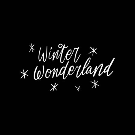 Hand drawn lettering quote template -Winter Wonderland - with illustrations around. Unique vector script saying poster. Custom  typography print for t shirts,bags,posters,merch,banners.