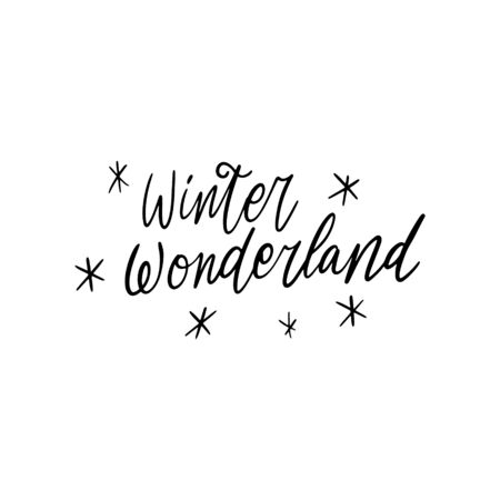 Hand drawn lettering quote template - Winter Wonderland - with illustrations around. Unique vector script saying poster. Custom  typography print for t shirts,bags,posters,merch,banners. 向量圖像