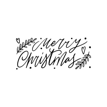 Hand drawn lettering quote template -Merry Christmas - with illustrations around. Unique vector script saying poster. Custom  typography print for t shirts,bags,posters,merch,banners.