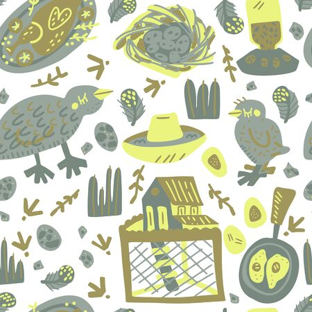 Quail farming hand drawn vector design. Textre background for package, merch and other design. Seamless food pattern.
