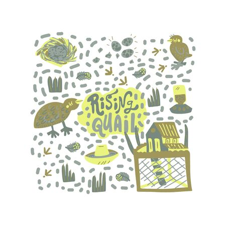 Quail farming modern concept of flat design for merch, banners and package. Hand drawn vector illustration. Set of food  objects. Ilustrace