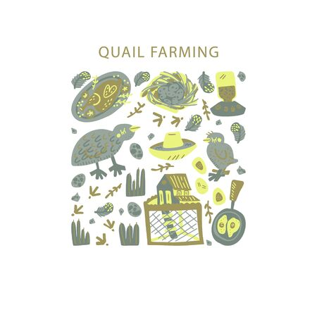 Quail farming hand drawn square frame. Vector handdrawn isolated rectangle concept.  Illustration made in doodle style. Set of food objects for package, merch and other design.