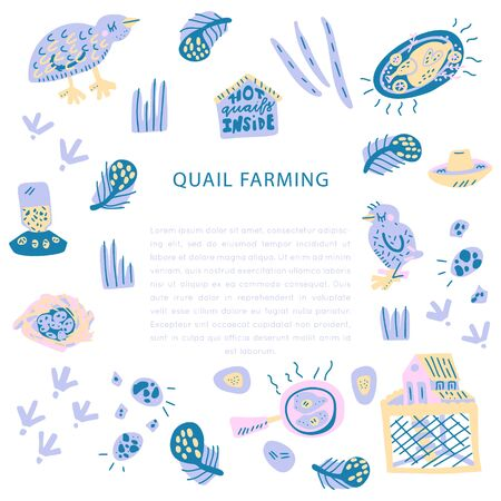 Quail farming hand drawn square frame. Vector handdrawn isolated rectangle concept.