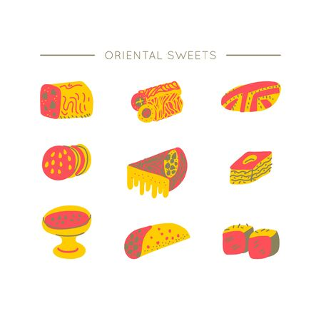 Oriental sweets hand drawn vector objects set. Illustration made in doodle style. Set of food objects for package, merch and other design. Modern concept of flat design.
