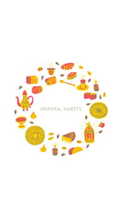 Oriental sweets hand drawn vector objects set. Illustration made in doodle style.Social media photo frame. Template for stories mobile interface, ui, app, web. Vector illustration. Illustration