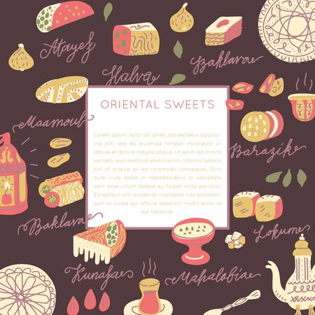 Oriental sweets hand drawn vector square frame. Vector handdrawn isolated rectangle concept. Illustration made in doodle style. Set of food objects for package, merch and other design.