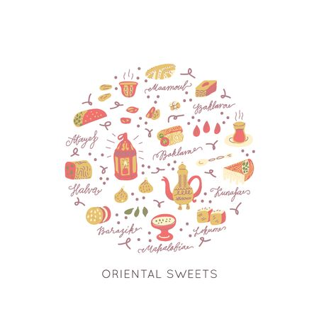 Oriental sweets hand drawn vector round frame. Vector handdrawn isolated circle concept. Illustration made in doodle style. Set of food objects for package, merch and other design.
