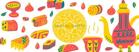 Oriental sweets hand drawn vector objects set. Illustration made in doodle style. Set of food objects for package, merch and other design.Vector Horizontal header web template.