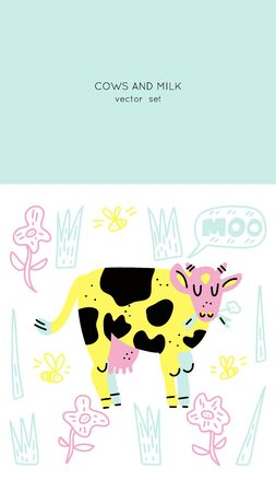Cows and milk collection of hand drawn vector elements. Illustration made in doodle style. Social media photo frame. Template for stories mobile interface, ui, app, web. Vector illustration. Illustration