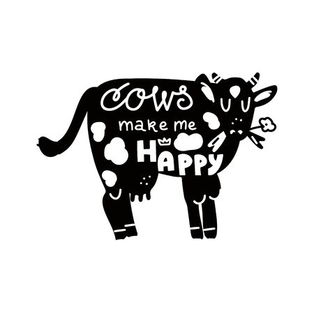 Hand drawn lettering quote - Cows make me happy - with different cow illustration. Unique vector quote poster.Custom typography for your designs:t-shirts,bags,posters,invitation.