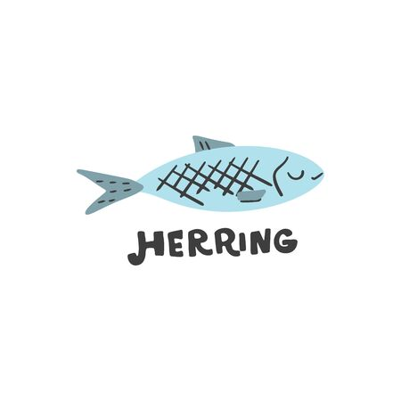 Dessin de source de fruits de mer d'acides gras oméga-3. Icône de vecteur dessiné à la main de poisson drôle. Illustration texturée réalisée dans un style doodle plat, design coloré.