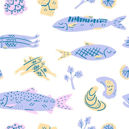 Main Omega 3 fatty acids sources set of drawings. Medicine handdrawn vector icons. Textured illustration made in flat doodle style, colourful design. Seamless pattern.