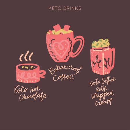 Ketogenic diet drinks vector set. Hand painted illustration made in funny doodle style. Big bundle of clipart Keto diet elements with hand lettering.