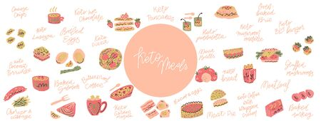 Ketogenic diet meals vector set. Hand painted illustration made in funny doodle style.Vector Horizontal header web template.