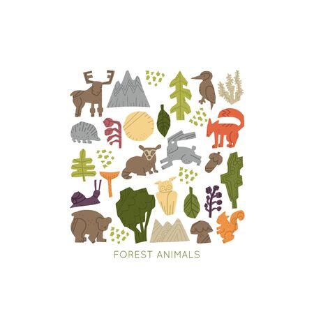 Woodland Forest Animals vector set.  Nature inspired simple geometry 