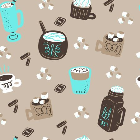 Hot chocolate and cocoa collection of hand drawn vector elements. Seamless pattern. Vector handdrawn elements. Silhouette background.