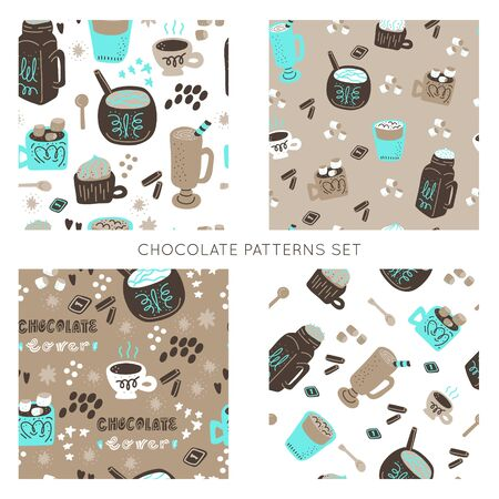 Hot chocolate and cocoa collection of hand drawn vector elements. Seamless patterns set. Bundle of backgrounds..