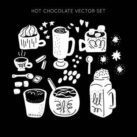 Hot chocolate and cocoa collection of hand drawn vector elements. Monochrome silhouette objects. Set of objects for package, merch and other design.