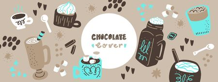 Hot chocolate and cocoa collection of hand drawn vector elements. Illustration made in doodle style. Set of objects for package, merch and other design. Vector Horizontal header web template. Illustration