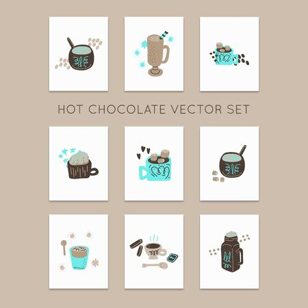 Hot chocolate and cocoa collection of hand drawn vector premade cards. Set of Illustrations made in doodle style.