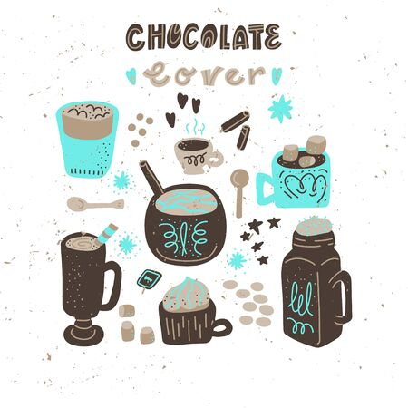 Hot chocolate and cocoa collection of hand drawn vector elements. Illustration made in doodle style. Set of objects for package, merch and other design.