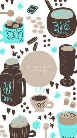 Hot chocolate and cocoa collection of hand drawn vector elements. Illustration made in doodle style. Social media photo frame. Template for stories mobile interface, ui, app, web. Vector illustration. Illustration