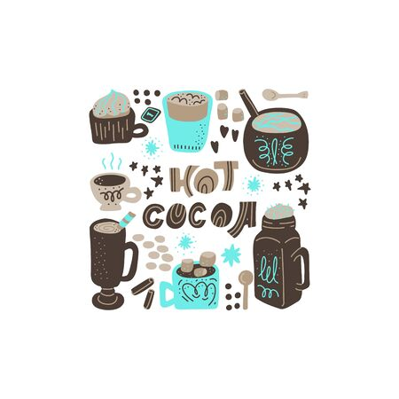 Hot chocolate and cocoa collection of hand drawn vector elements. Illustration made in doodle style. Square frame. Vector handdrawn isolated rectangle concept.