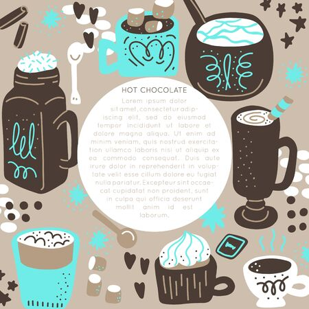 Hot chocolate and cocoa collection of hand drawn vector elements. Illustration made in doodle style. Round frame. Vector handdrawn isolated circle concept. Illustration