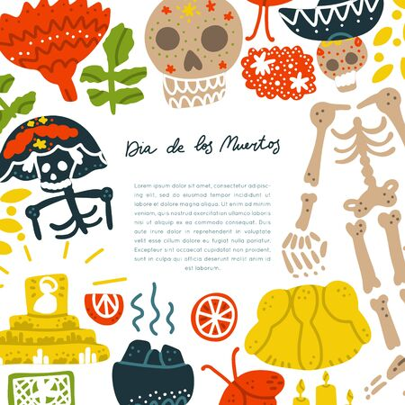 Mexican Day of the Dead  (Dia de los Muertos) vector set. Hand painted illustration made in funny doodle style. Set of dramings. Vector handdrawn square frame. Isolated rectangle concept.